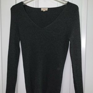 Grey Ribbed Material V Neck sweater